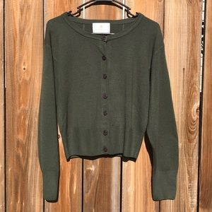 Vintage Express Tricot Green Button Up Cardigan M